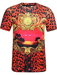 SSLR Men's Straight Fit Printed Short Sleeve Crew Neck T Shirt
