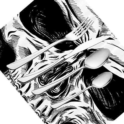 30-teiliges Besteckset, Halloween-Geschirr, Edelstahl-Besteck, Geschirrset für 6 Personen, einschließlich Messer, Gabeln, Löffel, Teelöffel und Tischset, Gothic Dead Skull Face, Nahaufnahme, Skizze Ev (5 Person, Halloween-thema)