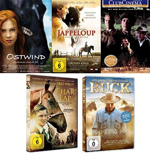 Pferdefilm Superset: Ostwind, Seabiscuit, Jappeloup, Phar Lap und Buck - Der wahre Pferdeflüsterer im Set - Deutsche Originalware [5 DVDs] - Lap-set