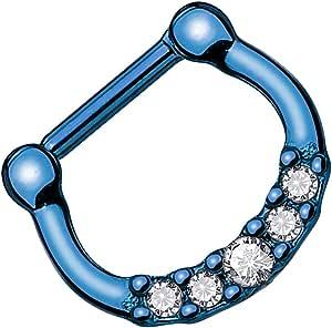 Piersando Piercing universale ad anello per setto nasale, trago, elice, orecchio, naso, labbro, seno, intimo tribale, anodizzato, con cristalli