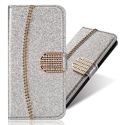 3D Bling Glitter Glitzer Diamond Musterg Ledertasche Slim Bookstyle Standfunktion Karteneinschub Magnetverschluss Flip Leder Wallet Tasche Brieftasche Hülle Schutzhülle für Samsung Galaxy S9 Plus