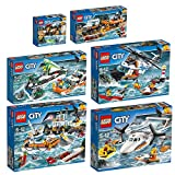 Lego City 6er Set 60163 60164 60165 60166 60167 60168 Küstenwache-Starter-Set + Rettungsflugzeug + Geländewagen mit Rettungsboot + Seenot-Rettungshubschrauber + Küstenwachzentrum + Segelboot in Not