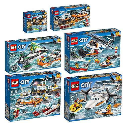 Preisvergleich Produktbild Lego City 6er Set 60163 60164 60165 60166 60167 60168 Küstenwache-Starter-Set + Rettungsflugzeug + Geländewagen mit Rettungsboot + Seenot-Rettungshubschrauber + Küstenwachzentrum + Segelboot in Not