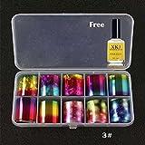 OHQ 10 Farben Nail Art Transferfolie Aufkleber für Nagel Spitze Dekoration & Sterne Kleber Set (C)