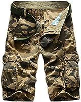 Panegy Adultes Combat Shorts pour Homme/Garçon Bermudas Treillis Militaire Cargo Armee Pantalon de Loisir Sport Plage Travail Multi Poches Coton sans Ceinture Camouflage Taille 34-48