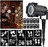 LED Projektor Lampe, bewegende weiße Schneeflocke Scheinwerfer Lichter Stern Beleuchtung Innenraum im Freien mit 10 Gobo austauschbaren Objektiv für Weihnachten Halloween Feiertags Party Garten Ausgangs Wand Dekoration Landschaft