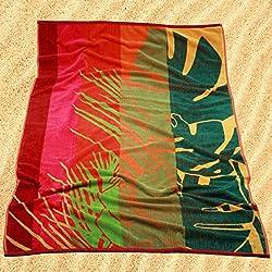 Burrito Blanco Toalla de Playa/Toalla de Piscina 178 Grande para Hombre o Mujer Algodón 100% Tacto de Terciopelo de 95x170 cm con Estampado de Hojas y Rayas, Rojo y Verde