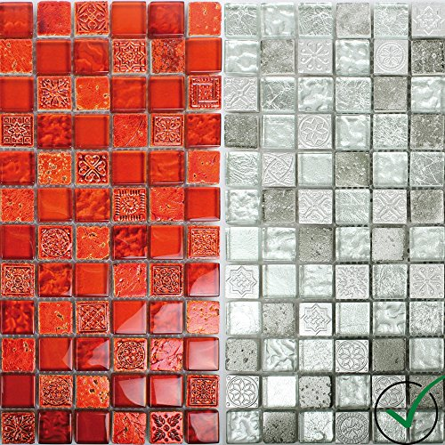 Mosaikfliesen Georgia Glas Naturstein Mix | Wand-Mosaik | Mosaik-Fliesen | Naturstein-Mosaik | Fliesen-Bordüre | Ideal für den Wohnbereich und...