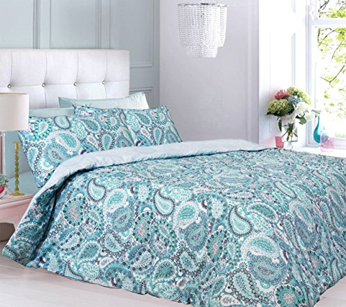 Duvet Cover Set Single Bed With Pillowcase Quilt Bedding Set Reversible Printed Poly Cotton, Paisley Aqua
