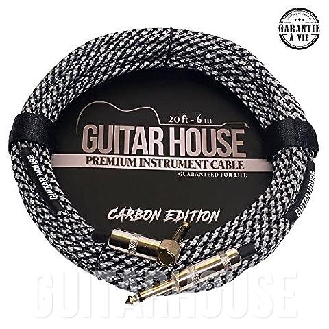 GUITARHOUSE Cable Guitare et Instrument 20FT 6M Connecteurs plaqué Or Cable en Nylon tressé de haute qualité - CARBON EDITION