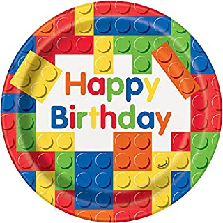 Unique Party 58235 - 23cm Building Blocks Birthday Party Plates, Pack of 8