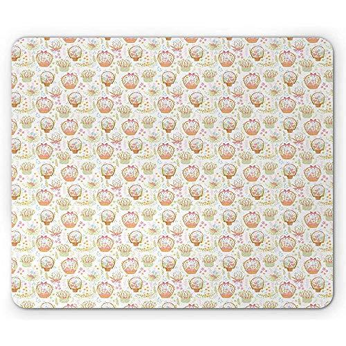 ELIST Mauspad, 25 x 30 cm, Blumenmuster, Blumenkörbe und Blumensträuße in Pastelltönen Frühlings-Elementen, rechteckig, rutschfest