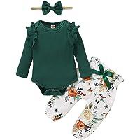 Zoerea Completo Neonato Bambina Manica Lunga Balza Lavorata a Maglia Pagliaccetto + Stampa Fiori Pantaloni + Fascia per…