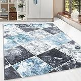 Kurzflor Guenstige Teppich modern Patchwork Fliesen Muster Schwarz Grau Weiss Tuerkis meliert 5 Groessen Wohnzimmer, Gästezimmer , Flur, Schlafzimmerm, Kueche, Läufer, Größe:80x300 cm