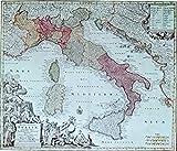 Diseño de mapa antiguo Italia–1730–impresiones/fotos–en una estructura de lino medio, Image Plus Small Border, 16 x 12inch
