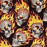 Alexander Henry Schwarzer Stoff mit Totenköpfen und Roten Flammen