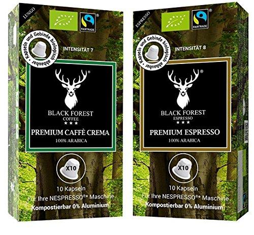 100% Kompostierbare, recyclebare, kompatible Bio Kapseln 60 Stück. 30 x Black Forest Premium Espresso und 30 x Caffè Crema. Kompatibel für Nespresso* Maschinen.0% Aluminium-Fair Trade