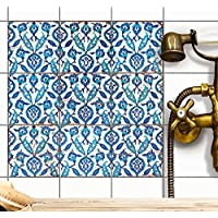 Stickers mosaïques muraux | Autocollant Carrelage Sticker - carrelage adesif salle de bain et cuisine | Carrelage adhésif - Design Hamam Vibes - 15x15 cm - 9 adhésif carrelage