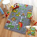 Reversible Road Map Farm Animal Cars Rug Play Mat 100cm x 165cm (3'3 x 5'4 approx) produced by The Good Rug Company - quick delivery from UK.