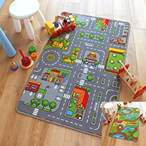 Reversible Road Map Farm Animal Cars Rug Play Mat 80cm X