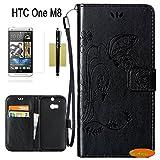 In Angel(TM),HTC One M8 Hülle,M8 Hülle PU Leder Brieftasche Hülle Stand Blatt Schutz- Hülle mit Karte Halter Hülle für HTC One M8 Schwarz