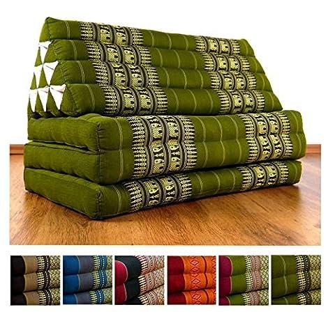 Kapok Thaikissen / Dreieckskissen im extra breiten 80cm XXL - Jumbo Liegekissen Format. Großer, asiatischer Sitzsack für indoor und outdoor, Sitzkissen aus Asien (grün / Elefanten)