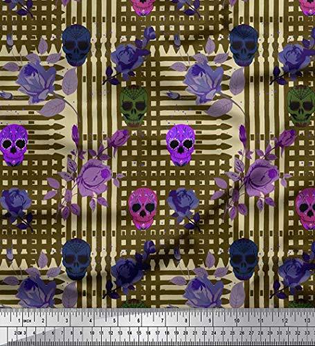 e Viskose Stoff Blätter, Rose & Schädel Halloween gedruckt Craft Fabric 1 Meter 42 Zoll breit ()
