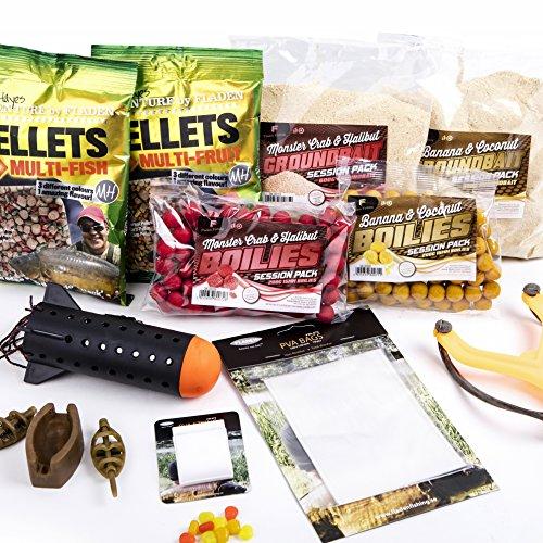 FLADEN Karpfenköder zum Angeln, Geschenkauswahl mit Zubehör–inklusive Boilies / Grundfutter / Pellet-Mix / Katapult / Falscher Mais / Rocket Spod / PVA-Beutel [40–029] - Rocket Mix