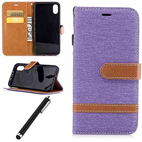 Leather Case for iPhone 8-Beddouuk Luxury Denim Pattern Design PU Leather Flip Wallet Case with [Card Slots][Kickstand][Magnetic Closure],Bookstyle Full Protection Folio Cover Case With Hand Strap for Apple iPhone