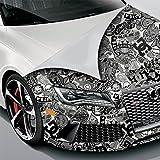 500x150cm Stickerbomb Auto Folie in schwarz / weiß Glänzend - Sticker Logo Bomb - JDM Aufkleber - Design: Skate BW