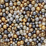 700 Pieces 4mm and 6mm Round Glass Pearl Beads in Assorted Silver and Gold Colours for Jewellery Making and arts and crafts.