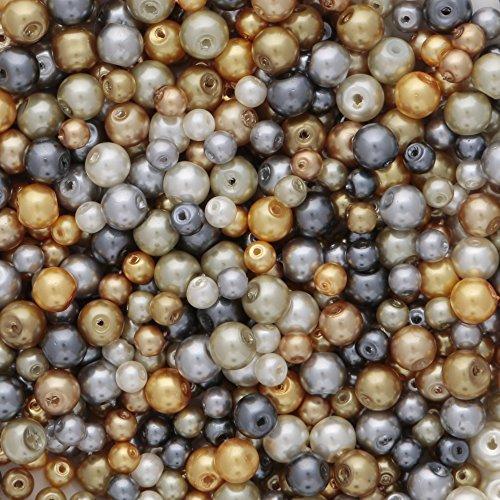 Glas Perlen in Gold und Silber Farben 4 mm und 6 mm gemischt Farben ca. 700 Stück (Ausführung Leichte Zinn)
