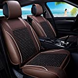 Full set Car Seat Cushion Summer Wooden Beads Car Seat Seat Cover Car Accessories Car Mat 5 Seat Universal Cool Pad (color : Coffee-Deluxe Edition)