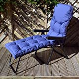Sun Lounger with Classic Blue Cushion (Black Frame)
