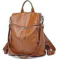 Damen Rucksack Schafsleder - Daypack Schule Lässiger Rucksack 2 in 1 als Rucksack und Schultertasche, Backpack Leichte…