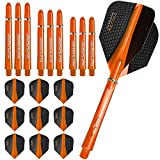 Harrows Retina - Flights and Shafts Combo Kit - 3 Sets (9) Standard Flights - 3 Sets Supergrip Shafts - Orange by Harrows