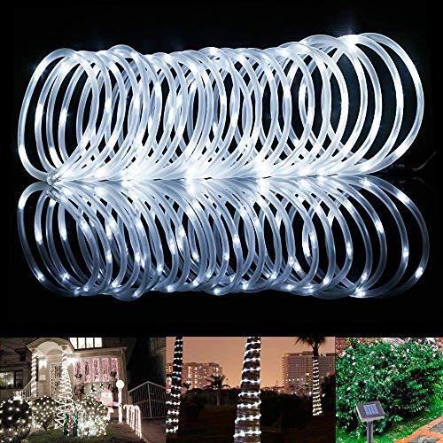 Solar Schlauch LED Lichterkette - ELINKUME 7M/23ft 100 LEDs Wasserdicht Außenlichterkette Röhrenlicht Seil Kupferdraht Weihnachtsbeleuchtung Lichter für Hochzeit Garden Party (Kaltweiß)