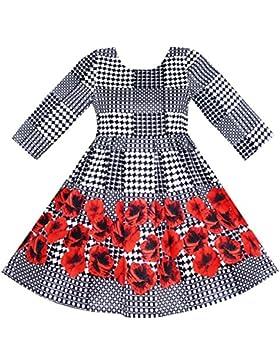 Sunny Fashion - Vestido con estampado floral para niña negro