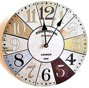 Horloge murale design londres kensington shabby chic 30cm for Horloge numerique murale design