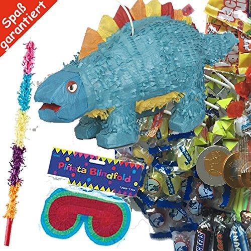 (Pinata Set: * DINO * mit + Maske + Schläger + 100-teiliger Süßigkeiten-Füllung No.1 von Carpeta© // Handgefertigte spanische Pinata. Tolles Spiel für Kindergeburtstag oder Mottoparty)