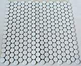 Fliesen Mosaik Mosaikfliese Bad Küche Keramik Knopf uni weiß matt 5mm Neu #197