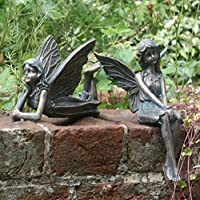 Set of 2 Garden Fairy Ornament/Statue Angela and Angelina ...