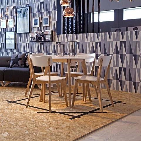 Mesa de comedor | La mesa de la cocina TAVOLA, redondo, madera maciza de abedul, tablero blanco, diámetro de 90