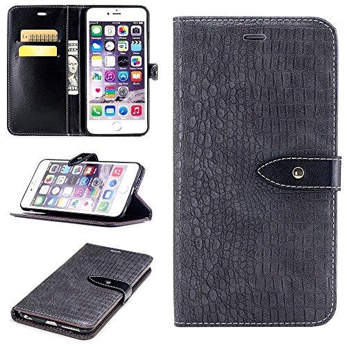 """MOONCASE iPhone 6 Plus/iPhone 6s Plus Coque, Flexible Flip Cuir Protection Étuis à Rabat avec Béquille Case Built-in Card Slots portefeuille Housse pour iPhone 6 Plus/iPhone 6s Plus 5.5"""" Dark Brown Gris"""