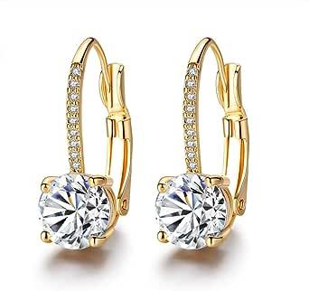 Orecchini a cerchio placcati oro eleganti da donna, con zirconi, idea regalo per donne