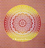 Indian Mandala Hippie Hippy Wall Hanging Tapestry, Cotton Table Cloth, Picnic Beach Blanket, Dorm Decor Wall Art, 54x86 Inch.