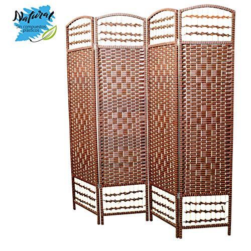 Hogar y Mas Biombo Separador de Ambientes, 4 Paneles, Bambú Natural,