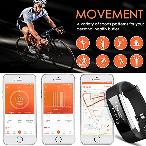 Pulsera Actividad Aneken Pulsera Inteligente Smart Bracelet Tracker con Monitor de Ritmo Cardíaco Activity Tracker Bluetooth Podómetro con Sleep Monitor Smart Watch para iPhone y Android Smartphones(Negro)
