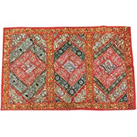 Mogul Interior Wall Hanging Tapestry Embroidery Sequins Indian Old Sari Patchwork (60x40inch)