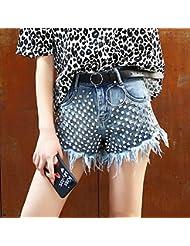 WHTLL-Cutoff Jeans Waist Loose Summer Lady Europe Bretelles Fines Et Irrégulières